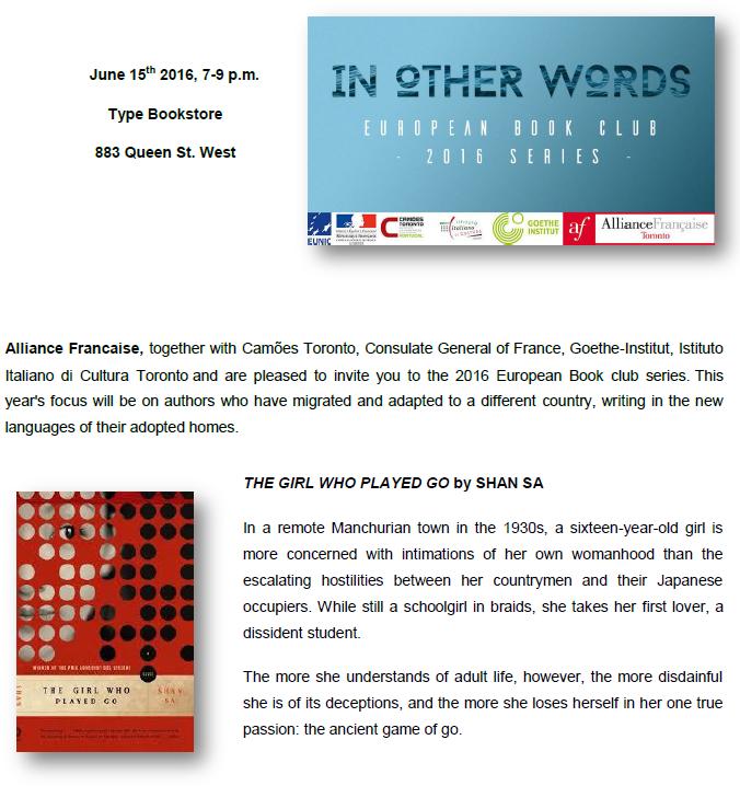 book club Toronto June