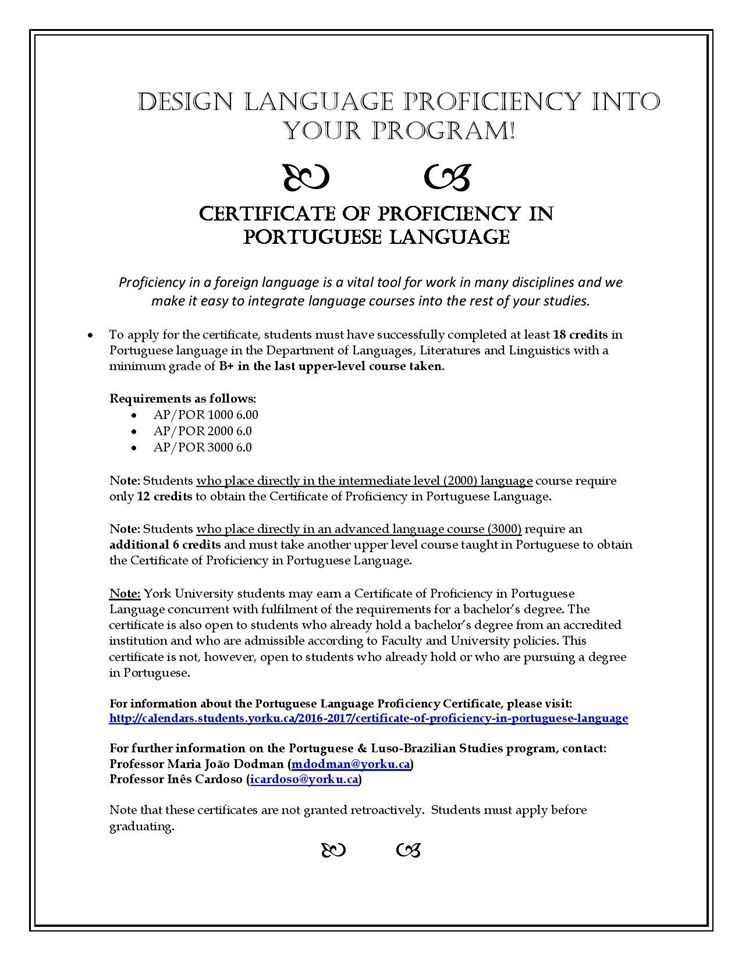 Certificate Of Proficiency In Portuguese Language Cames Toronto